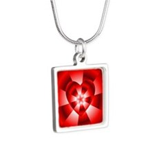 Red Radiance Silver Square Necklace