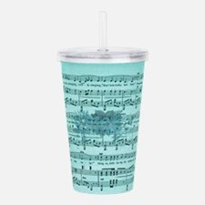 Aqua Vintage Music Sheet With Roses Acrylic Double