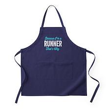 Because I'm A Runner Apron (dark)