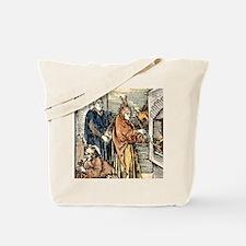15th cent. engraving. Trickster alchemist Tote Bag