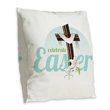 Celebrate Easter Burlap Throw Pillow