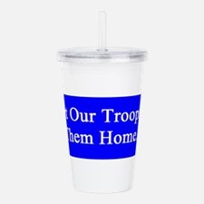 support_our_troops_blue_on_white.png Acrylic Doubl