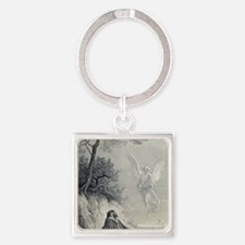 Gustave Dore. 19th cent. engraving Square Keychain