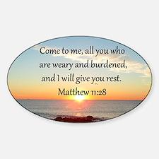 MATTHEW 11:28 Sticker (Oval)