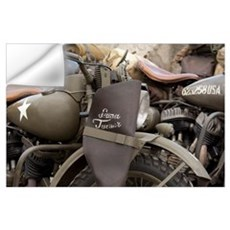 Arromanches. Vintage military motorcycles on famou Wall Decal