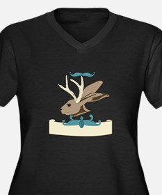 Jackalope Head Plus Size T-Shirt