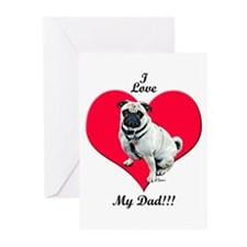 Pug Loves Dad! Greeting Cards (Pk of 10)