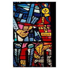 Joan of Arc window at St. Nicholas De Port Basilic Poster