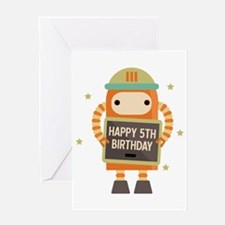 Happy 5th Birthday Retro Robot Greeting Cards