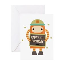 Happy 6th Birthday Retro Robot Greeting Cards