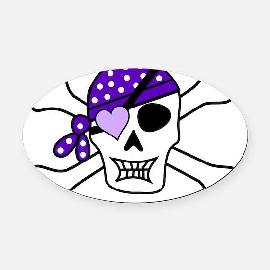 Purple Pirate Crossbones Oval Car Magnet
