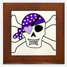 Purple Pirate Crossbones Framed Tile