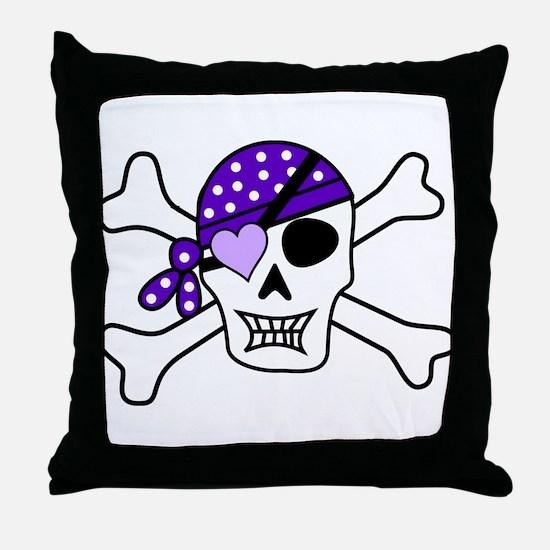 Purple Pirate Crossbones Throw Pillow