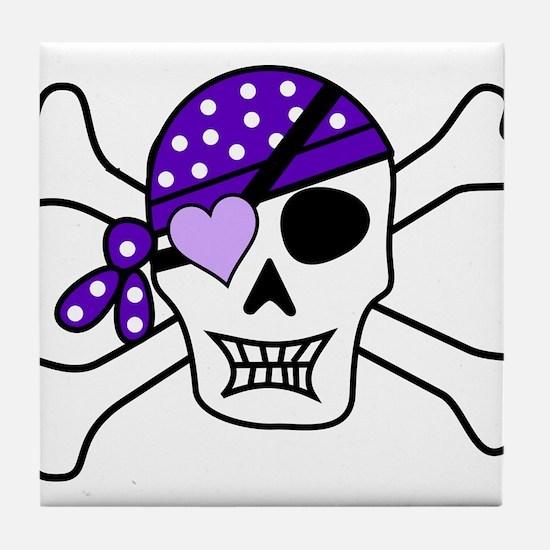 Purple Pirate Crossbones Tile Coaster