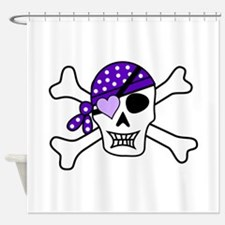 Purple Pirate Crossbones Shower Curtain