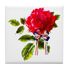 Independence Day Rose Tile Coaster