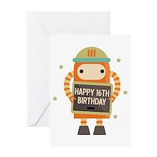 Happy 16th Birthday Retro Robot Greeting Cards