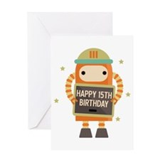 Happy 15th Birthday Retro Robot Greeting Cards