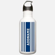 Blue and White Stripes Water Bottle