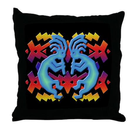 Kokopelli Twins (Black) Throw Pillow