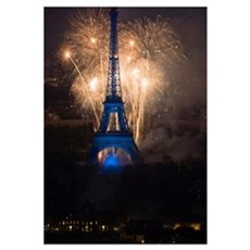 July 14 fireworks at the Eiffel Tower, Paris, Fran Canvas Art