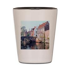 Bruges canal scene, BELGIUM. Shot Glass