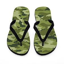 Green Camo Pattern Flip Flops