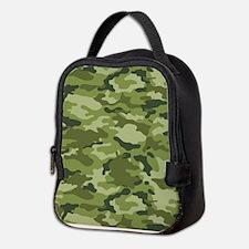Green Camo Pattern Neoprene Lunch Bag