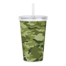 Green Camo Pattern Acrylic Double-wall Tumbler
