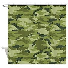 Green Camo Pattern Shower Curtain