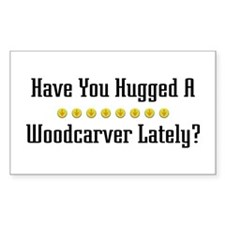 Hugged Woodcarver Rectangle Decal
