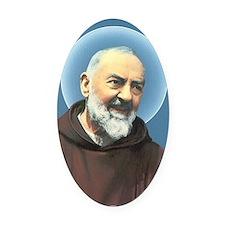 Padre Pio Oval Car Magnet