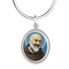 Padre Pio Silver Oval Necklace