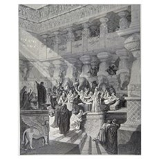 Belshazzar's Feast by Gustave Dore, 19th century Framed Print