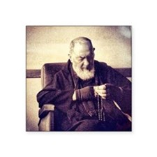 "Padre Pio Square Sticker 3"" x 3"""