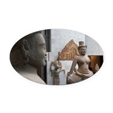 The stone sculptures from ancient  Oval Car Magnet