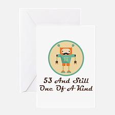 53rd Birthday Retro Robot Greeting Cards