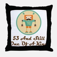 53rd Birthday Retro Robot Throw Pillow