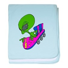 Alien on Coaster baby blanket