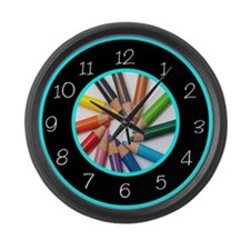 colored pencils Large Wall Clock