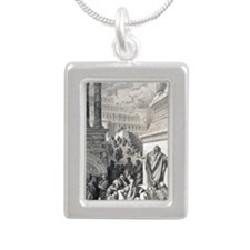Jonah preaching to Ninev Silver Portrait Necklace