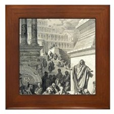 Jonah preaching to Ninevites, by Gusta Framed Tile