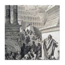 Jonah preaching to Ninevites, by Gust Tile Coaster