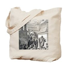 Jonah preaching to Ninevites, by Gustave  Tote Bag