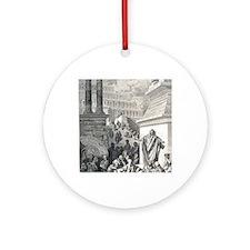 Jonah preaching to Ninevites, by Gu Round Ornament