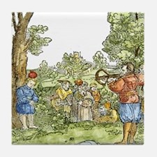 William Tell shooting apple from son, Tile Coaster