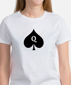 Queen of Spades With Q inside of Logo T-Shirt