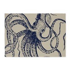 Dark blue Vintage Wood cut Octopus 5'x7'Area Rug