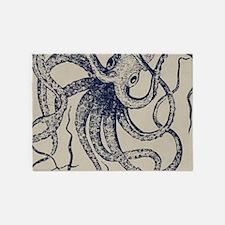 Dark blue Vintage Wood cut Octopus 5'x7'Area Rug