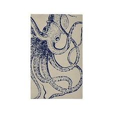 Dark blue Vintage Wood cut Octopus 3'x5' Area Rug